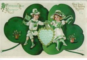 free-vintage-saint-patricks-day-greeting-card-with-two-kids-dancing-shamrocks